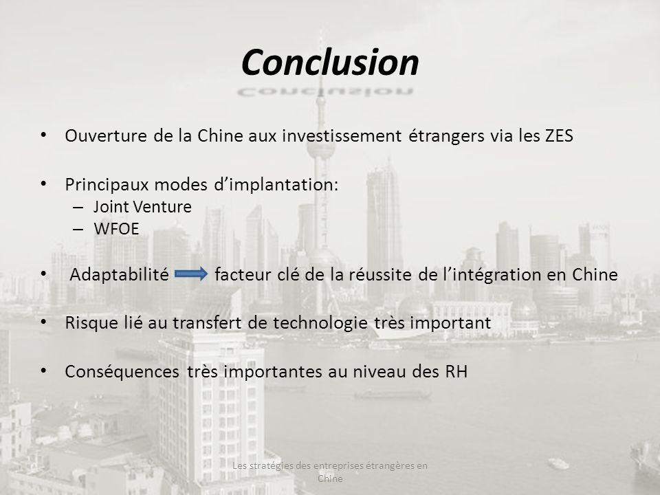Conclusion Ouverture de la Chine aux investissement étrangers via les ZES Principaux modes dimplantation: – Joint Venture – WFOE Adaptabilité facteur