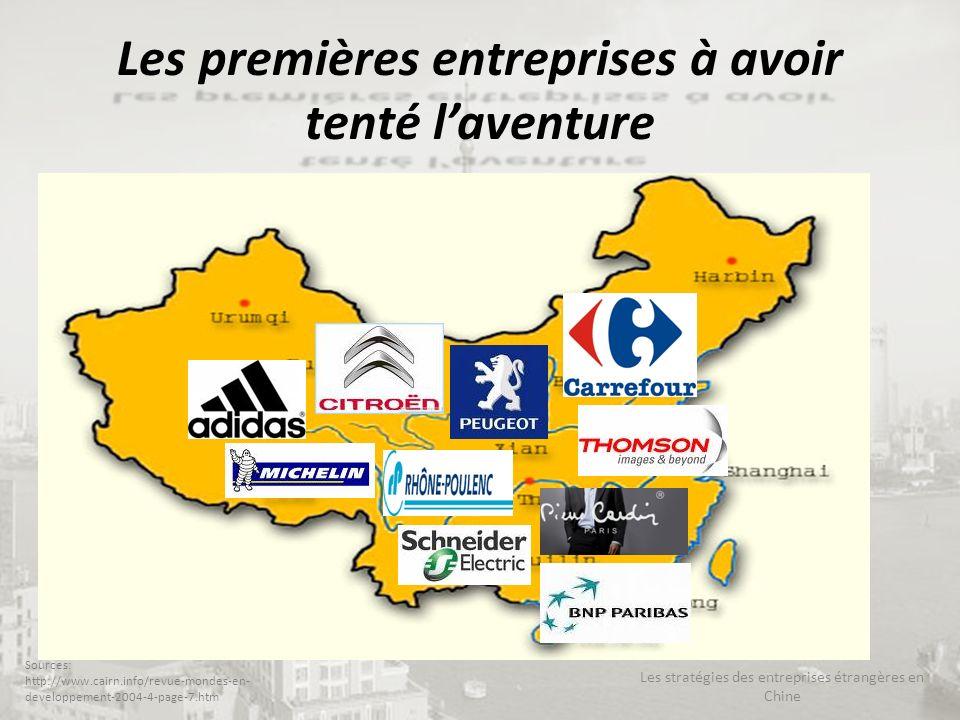Les premières entreprises à avoir tenté laventure Les stratégies des entreprises étrangères en Chine Sources: http://www.cairn.info/revue-mondes-en- d