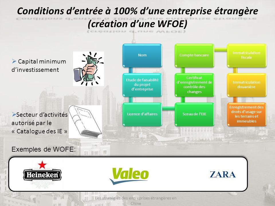 WFOE (Wholly Foreign Owned Enterprise) AvantagesLimites Contrôle total de limplantation, gestion, production, embauche, profits.