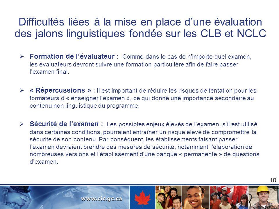 Difficultés liées à la mise en place dune évaluation des jalons linguistiques fondée sur les CLB et NCLC Formation de lévaluateur : Comme dans le cas
