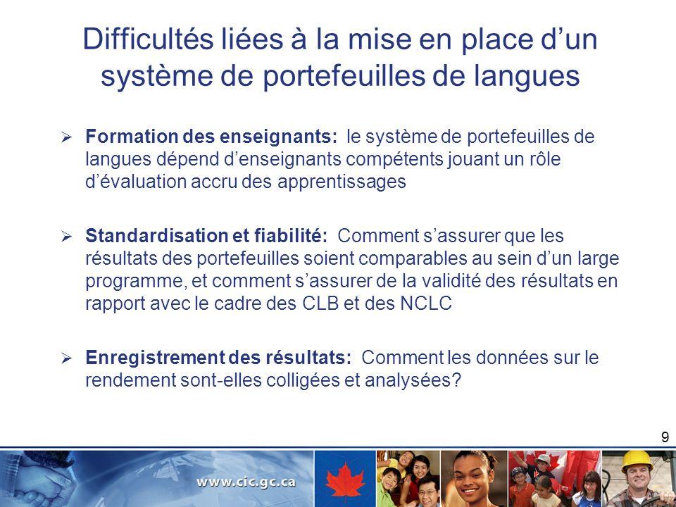 Difficultés liées à la mise en place dune évaluation des jalons linguistiques fondée sur les CLB et NCLC Formation de lévaluateur : Comme dans le cas de n importe quel examen, les évaluateurs devront suivre une formation particulière afin de faire passer lexamen final.