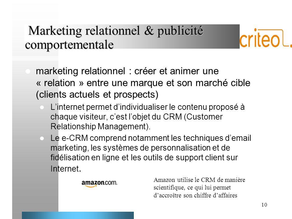 10 Marketing relationnel & publicité comportementale Marketing relationnel & publicité comportementale marketing relationnel : créer et animer une « r