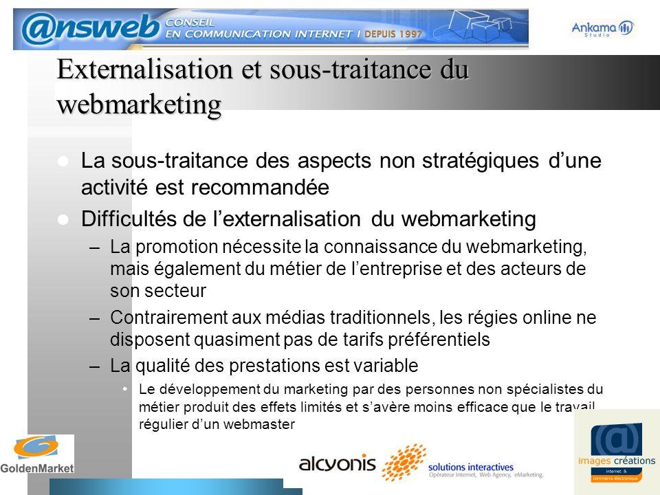 12 Externalisation et sous-traitance du webmarketing La sous-traitance des aspects non stratégiques dune activité est recommandée Difficultés de lexte