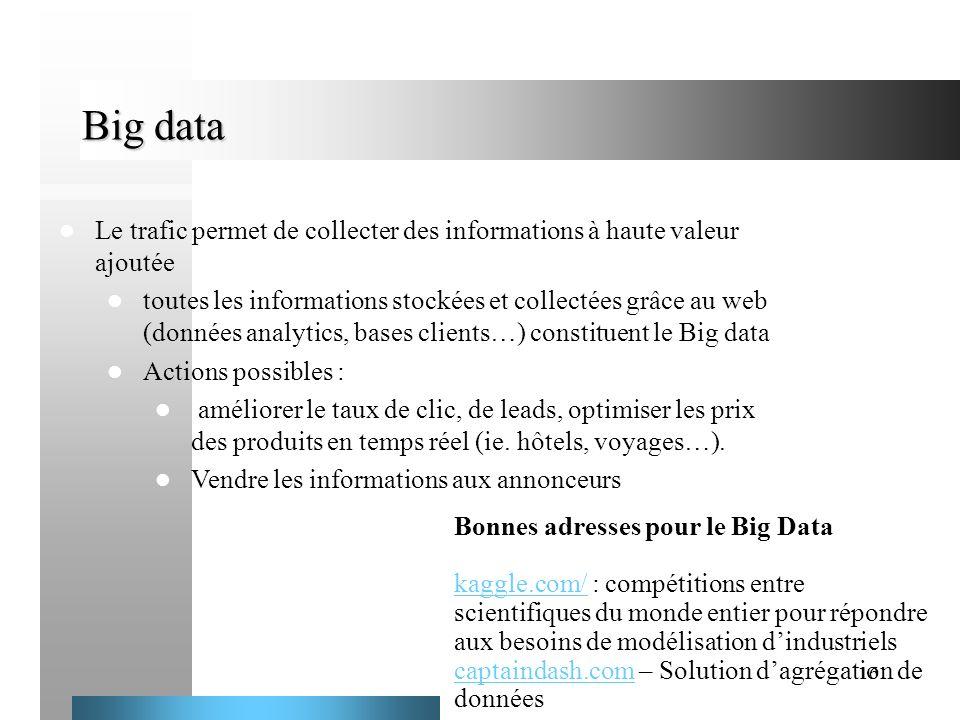 16 Big data Le trafic permet de collecter des informations à haute valeur ajoutée toutes les informations stockées et collectées grâce au web (données