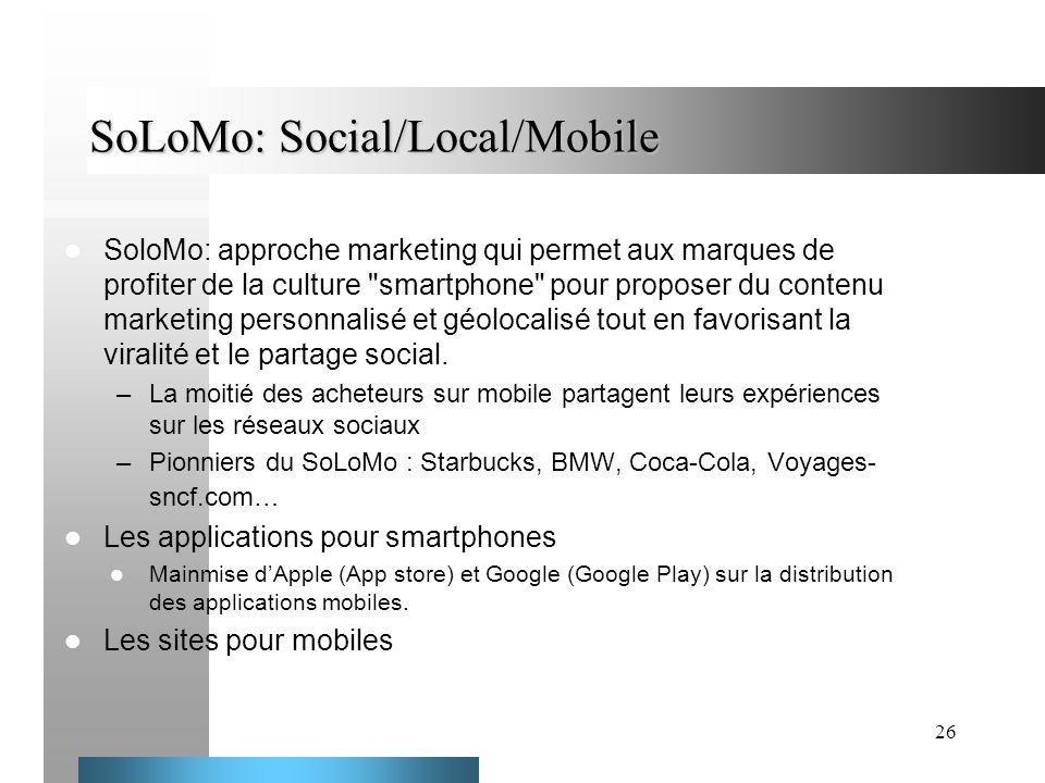 26 SoLoMo: Social/Local/Mobile SoloMo: approche marketing qui permet aux marques de profiter de la culture