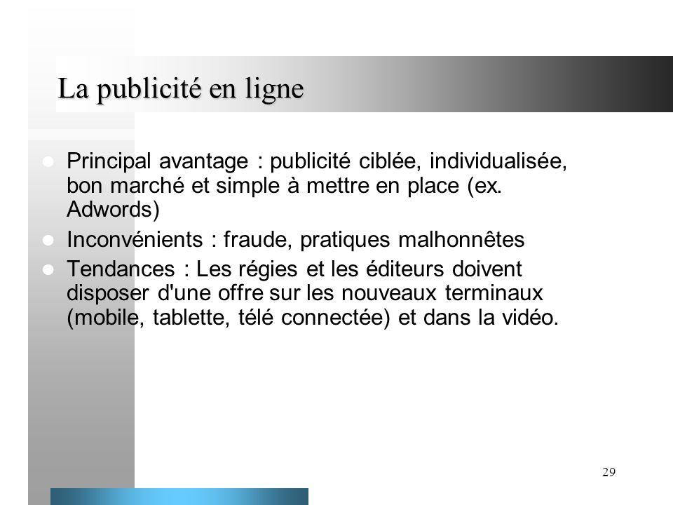 29 La publicité en ligne Principal avantage : publicité ciblée, individualisée, bon marché et simple à mettre en place (ex. Adwords) Inconvénients : f