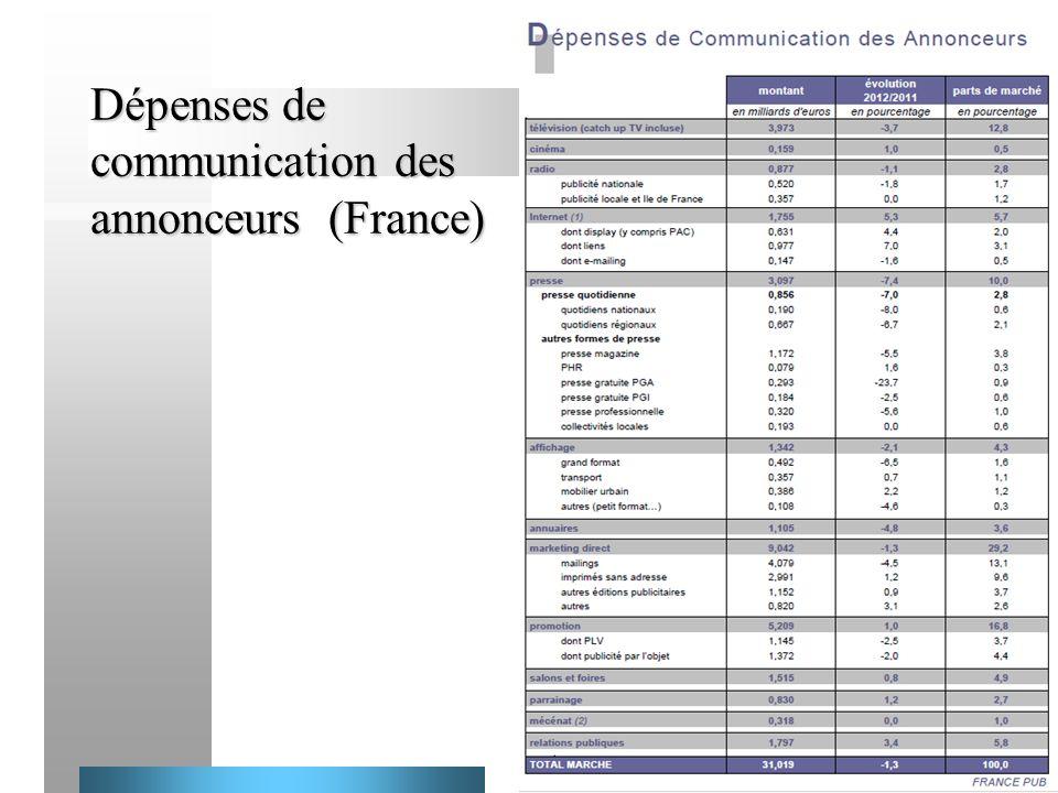 38 Dépenses de communication des annonceurs (France)