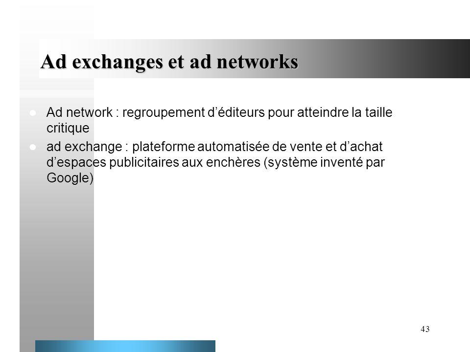 43 Ad exchanges et ad networks Ad network : regroupement déditeurs pour atteindre la taille critique ad exchange : plateforme automatisée de vente et