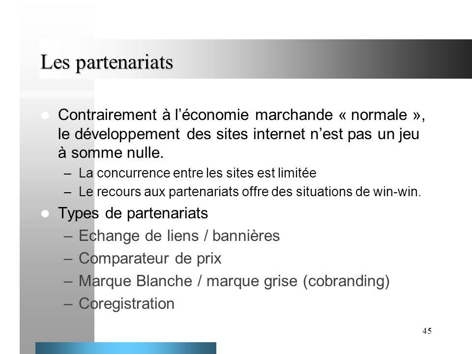 45 Les partenariats Contrairement à léconomie marchande « normale », le développement des sites internet nest pas un jeu à somme nulle. –La concurrenc