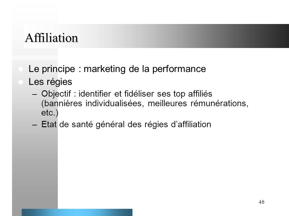 46 Affiliation Le principe : marketing de la performance Les régies –Objectif : identifier et fidéliser ses top affiliés (bannières individualisées, m