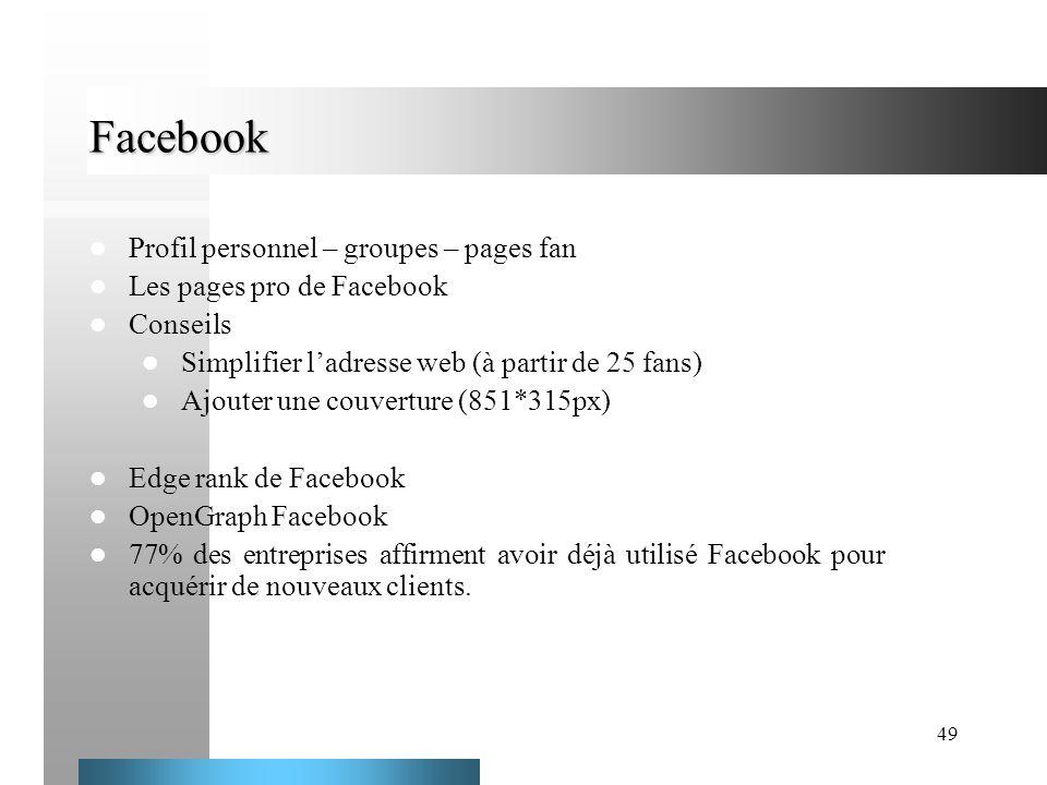 49 Facebook Profil personnel – groupes – pages fan Les pages pro de Facebook Conseils Simplifier ladresse web (à partir de 25 fans) Ajouter une couver