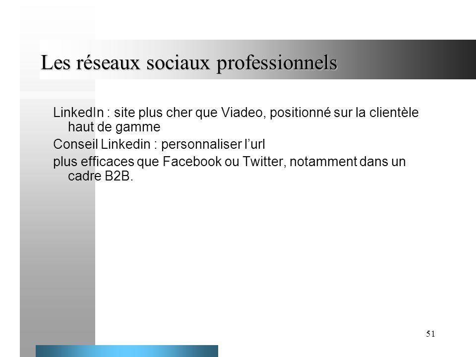 51 Les réseaux sociaux professionnels LinkedIn : site plus cher que Viadeo, positionné sur la clientèle haut de gamme Conseil Linkedin : personnaliser
