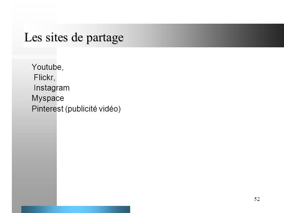 52 Les sites de partage Youtube, Flickr, Instagram Myspace Pinterest (publicité vidéo)