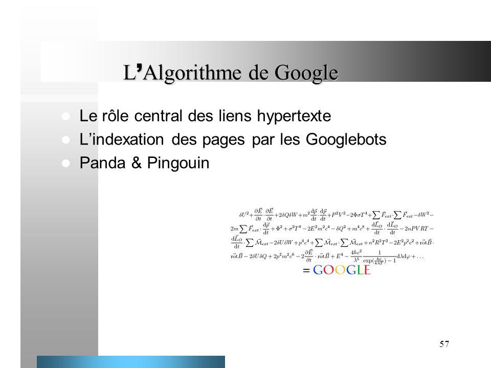 57 L Algorithme de Google Le rôle central des liens hypertexte Lindexation des pages par les Googlebots Panda & Pingouin