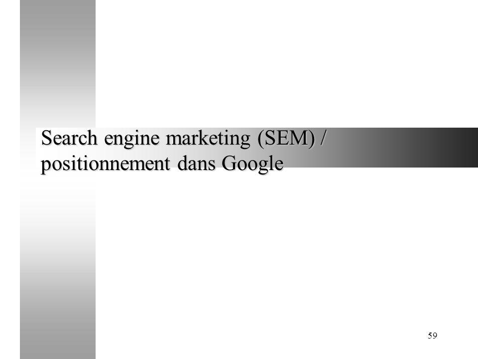 59 Search engine marketing (SEM) / positionnement dans Google