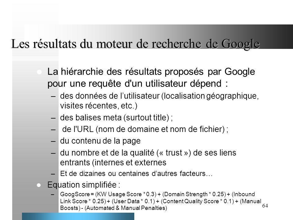 64 Les résultats du moteur de recherche de Google La hiérarchie des résultats proposés par Google pour une requête d'un utilisateur dépend : –des donn