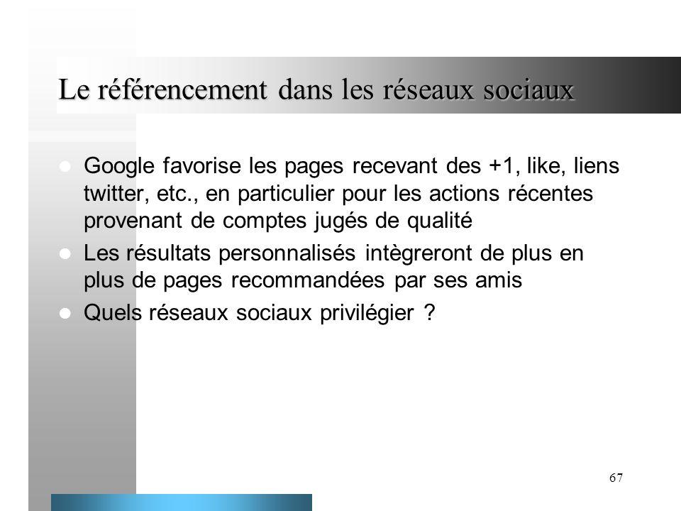 67 Le référencement dans les réseaux sociaux Google favorise les pages recevant des +1, like, liens twitter, etc., en particulier pour les actions réc