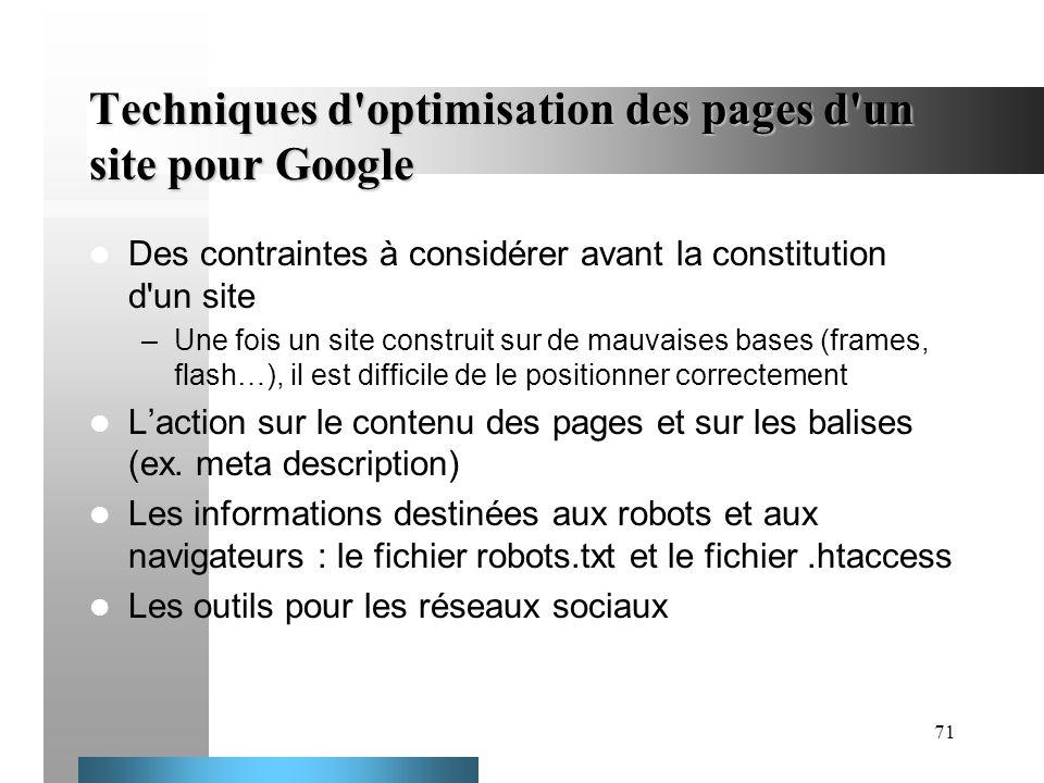 71 Techniques d'optimisation des pages d'un site pour Google Des contraintes à considérer avant la constitution d'un site –Une fois un site construit