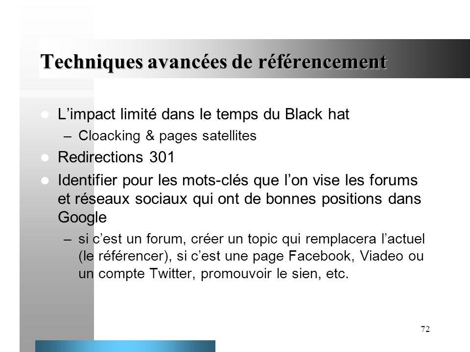 72 Techniques avancées de référencement Limpact limité dans le temps du Black hat –Cloacking & pages satellites Redirections 301 Identifier pour les m
