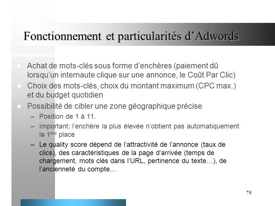 78 Fonctionnement et particularités dAdwords Achat de mots-clés sous forme denchères (paiement dû lorsquun internaute clique sur une annonce, le Coût