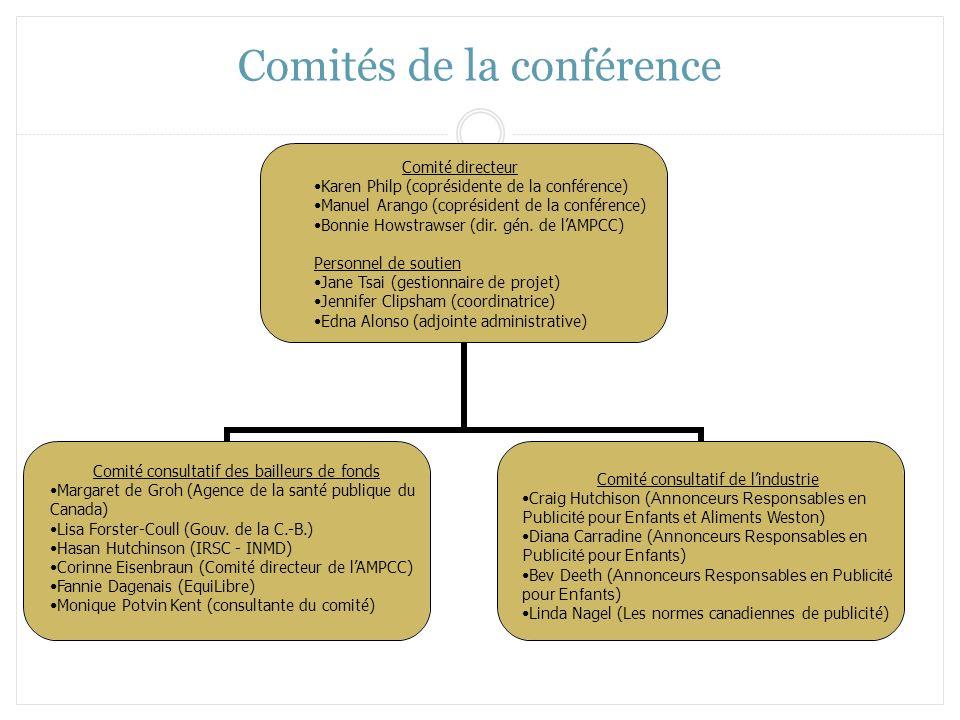 Comités de la conférence Comité directeur Karen Philp (coprésidente de la conférence) Manuel Arango (coprésident de la conférence) Bonnie Howstrawser