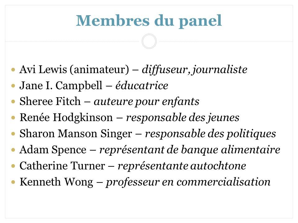 Membres du panel Avi Lewis (animateur) – diffuseur, journaliste Jane I. Campbell – éducatrice Sheree Fitch – auteure pour enfants Renée Hodgkinson – r