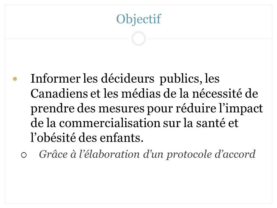 Objectif Informer les décideurs publics, les Canadiens et les médias de la nécessité de prendre des mesures pour réduire limpact de la commercialisati