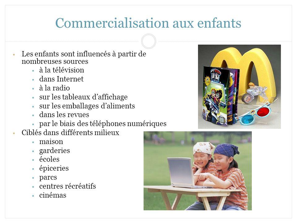 Commercialisation aux enfants Les enfants sont influencés à partir de nombreuses sources à la télévision dans Internet à la radio sur les tableaux daf