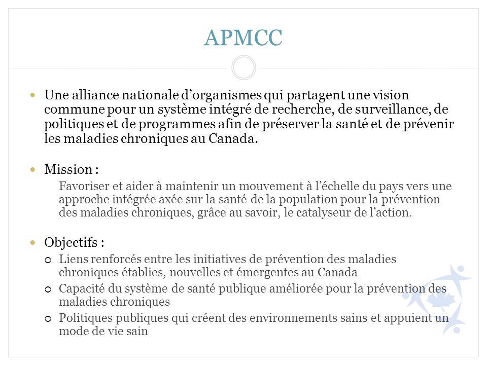 APMCC Une alliance nationale dorganismes qui partagent une vision commune pour un système intégré de recherche, de surveillance, de politiques et de p