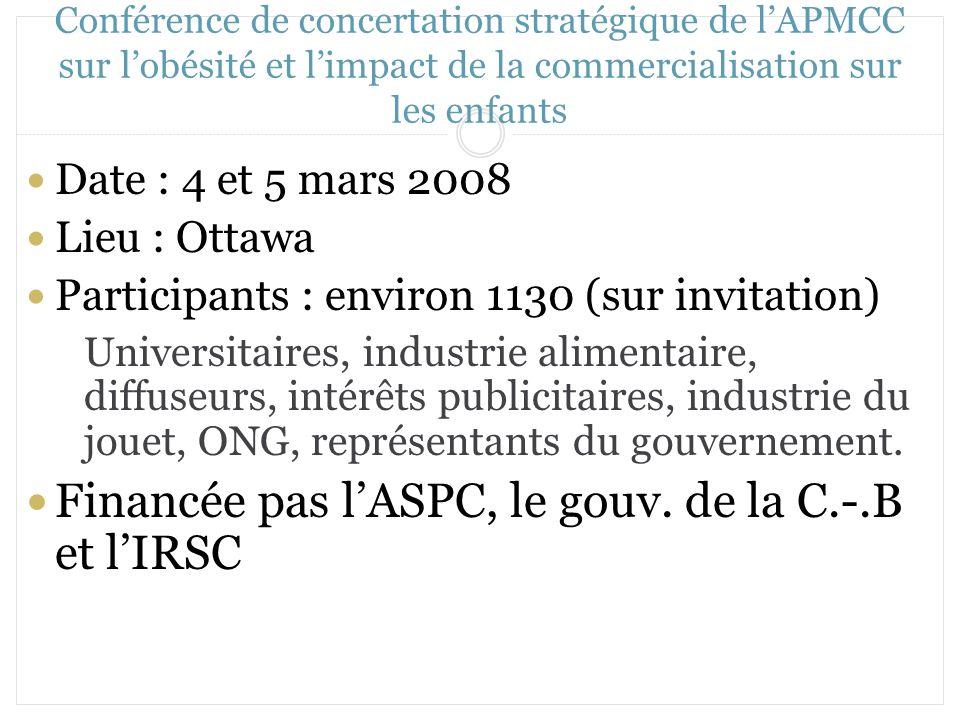 Conférence de concertation stratégique de lAPMCC sur lobésité et limpact de la commercialisation sur les enfants Date : 4 et 5 mars 2008 Lieu : Ottawa