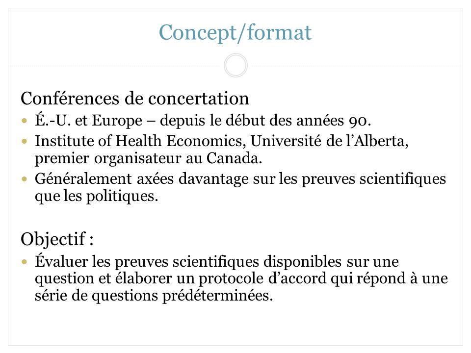 Concept/format Conférences de concertation É.-U. et Europe – depuis le début des années 90. Institute of Health Economics, Université de lAlberta, pre