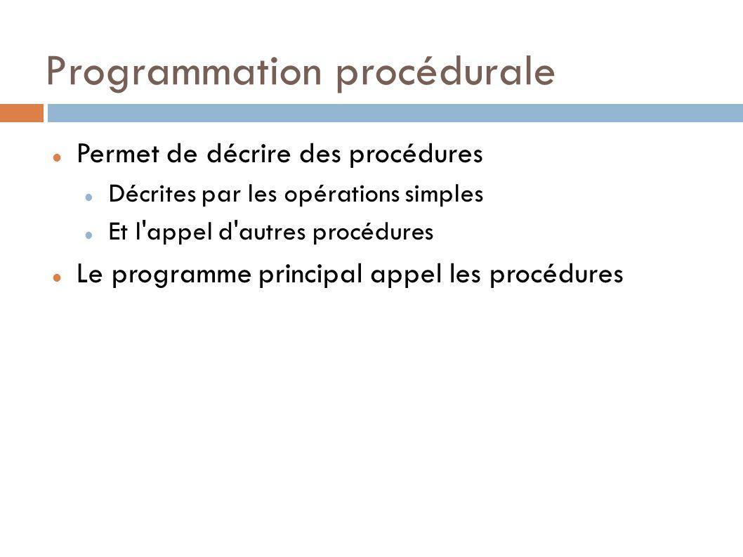 Programmation procédurale Permet de décrire des procédures Décrites par les opérations simples Et l appel d autres procédures Le programme principal appel les procédures