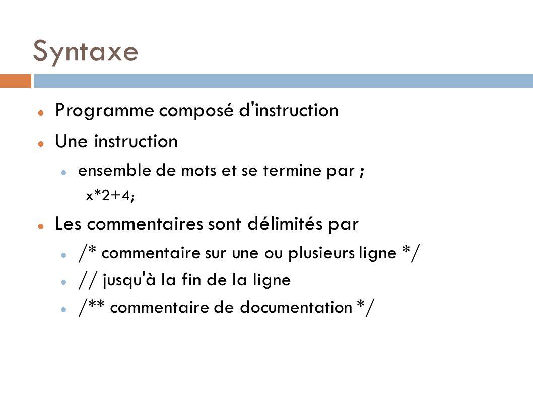Syntaxe Programme composé d instruction Une instruction ensemble de mots et se termine par ; x*2+4; Les commentaires sont délimités par /* commentaire sur une ou plusieurs ligne */ // jusqu à la fin de la ligne /** commentaire de documentation */