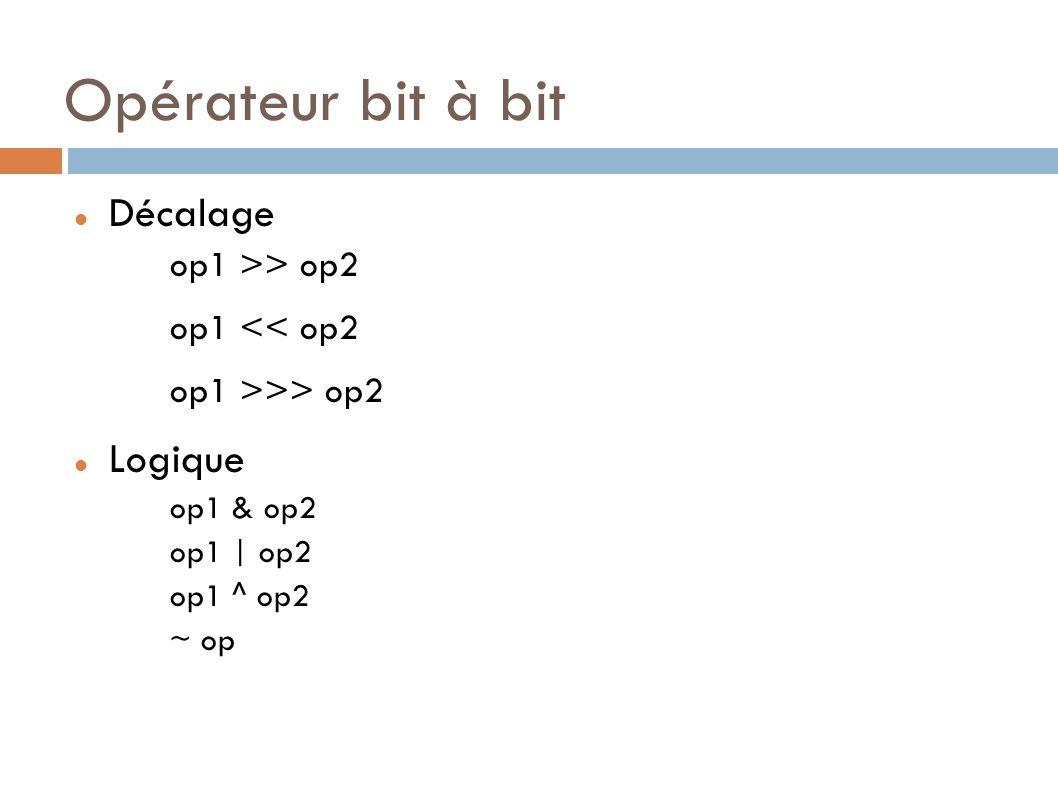 Opérateur bit à bit Décalage op1 >> op2 op1 << op2 op1 >>> op2 Logique op1 & op2 op1 | op2 op1 ^ op2 ~ op