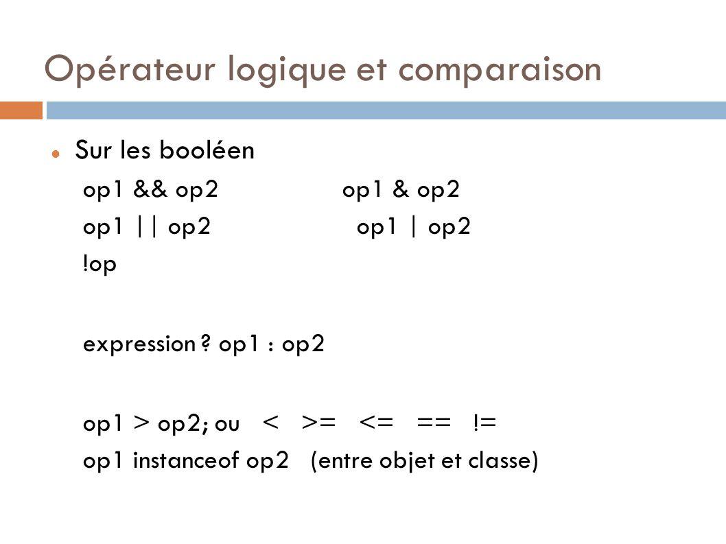 Opérateur logique et comparaison Sur les booléen op1 && op2 op1 & op2 op1 || op2 op1 | op2 !op expression .