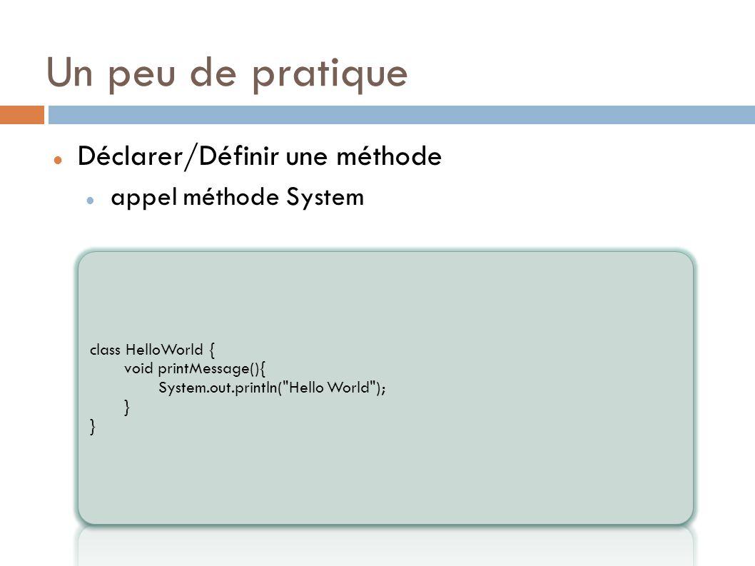 Un peu de pratique Déclarer/Définir une méthode appel méthode System