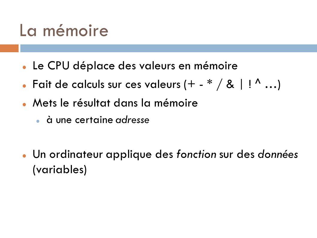 La mémoire Le CPU déplace des valeurs en mémoire Fait de calculs sur ces valeurs (+ - * / & | .