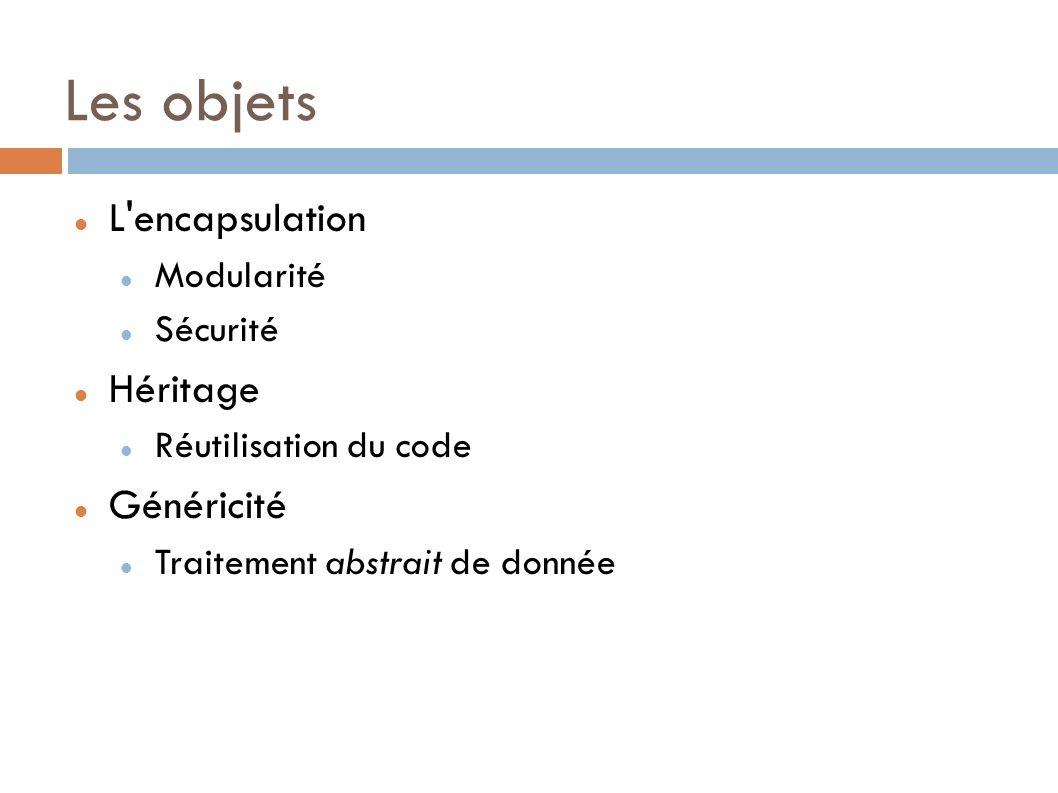 Les objets L encapsulation Modularité Sécurité Héritage Réutilisation du code Généricité Traitement abstrait de donnée