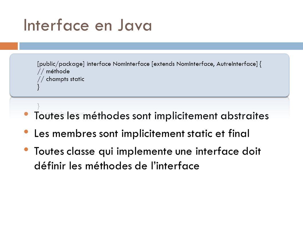 Interface en Java Toutes les méthodes sont implicitement abstraites Les membres sont implicitement static et final Toutes classe qui implemente une interface doit définir les méthodes de linterface