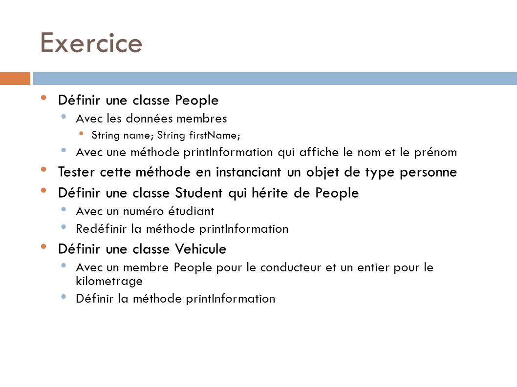 Exercice Définir une classe People Avec les données membres String name; String firstName; Avec une méthode printInformation qui affiche le nom et le prénom Tester cette méthode en instanciant un objet de type personne Définir une classe Student qui hérite de People Avec un numéro étudiant Redéfinir la méthode printInformation Définir une classe Vehicule Avec un membre People pour le conducteur et un entier pour le kilometrage Définir la méthode printInformation