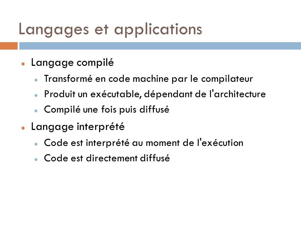 Langages et applications Langage compilé Transformé en code machine par le compilateur Produit un exécutable, dépendant de l architecture Compilé une fois puis diffusé Langage interprété Code est interprété au moment de l exécution Code est directement diffusé