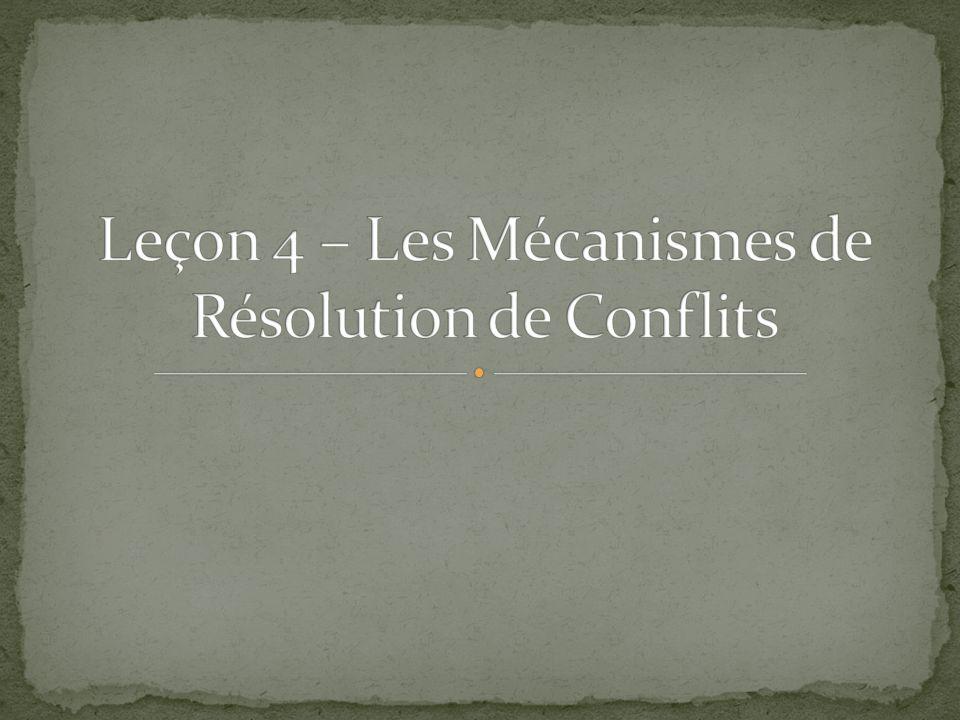 Il existe plusieurs méthodes de résolution des conflits universellement reconnues: Le prohibition de la menace ou de lusage de la force – art.