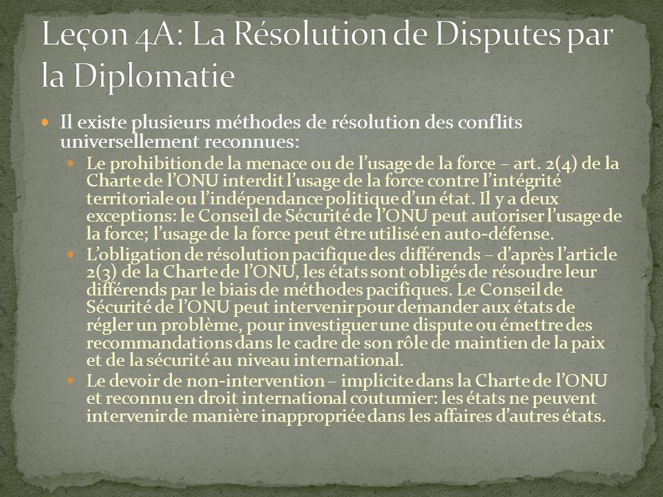 Il existe plusieurs méthodes de résolution des conflits universellement reconnues: Le prohibition de la menace ou de lusage de la force – art. 2(4) de