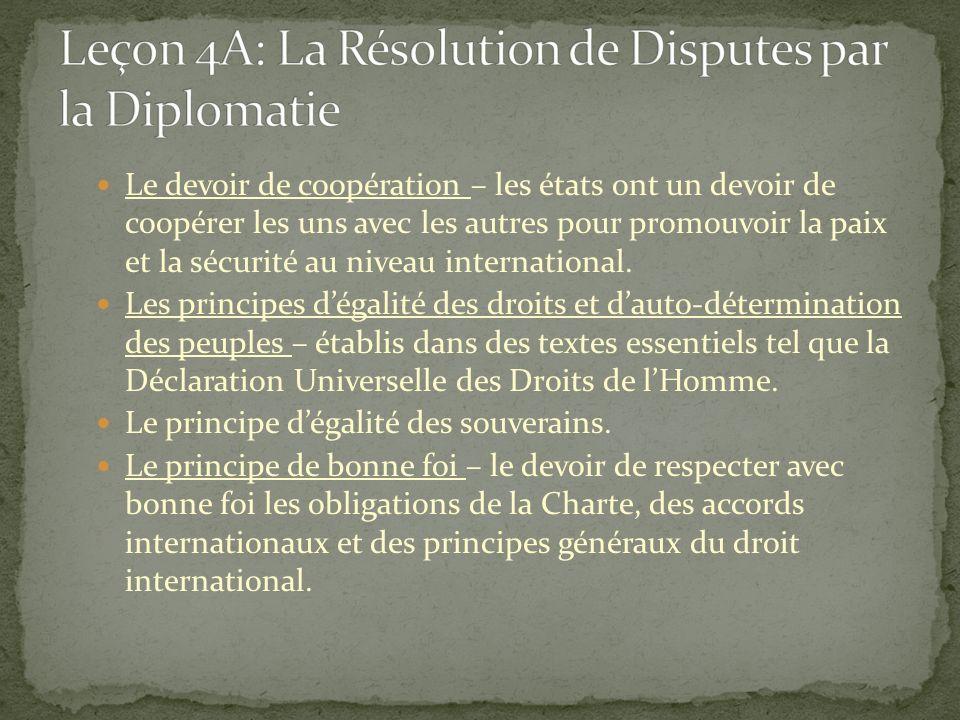 Il existe plusieurs méthodes diplomatiques de résolution des différends employés en droit international: La négociation (et parfois la consultation) – peut être nécessaire en certains cas dépendant des provisions du traité ou dun autre accord.