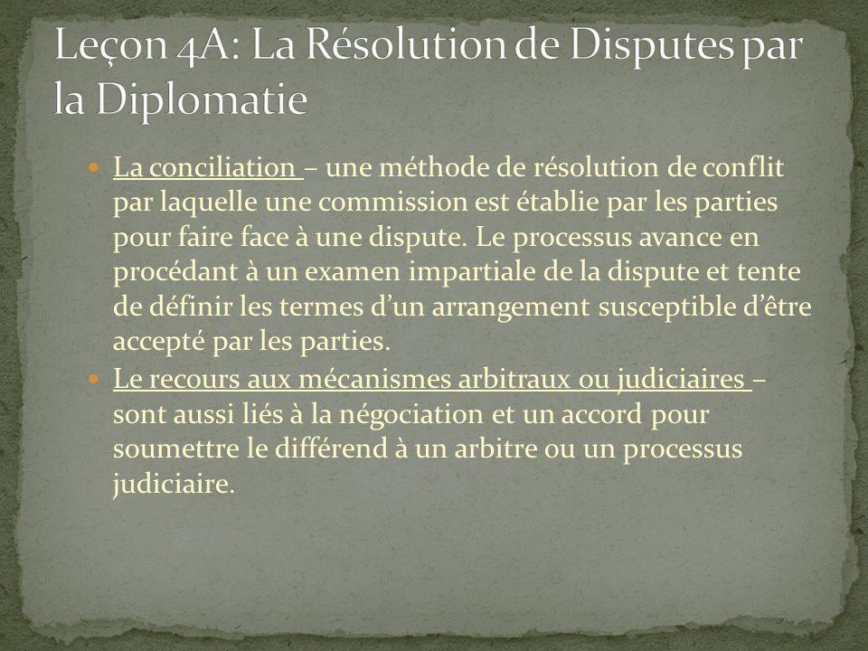 La conciliation – une méthode de résolution de conflit par laquelle une commission est établie par les parties pour faire face à une dispute. Le proce