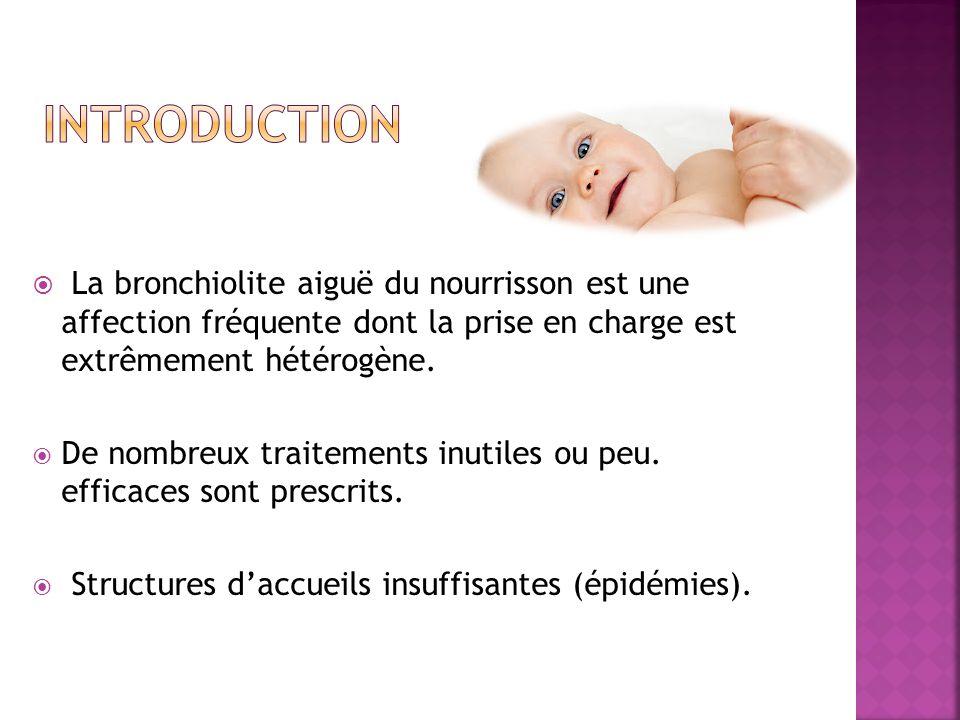 La bronchiolite aiguë du nourrisson est une affection fréquente dont la prise en charge est extrêmement hétérogène. De nombreux traitements inutiles o