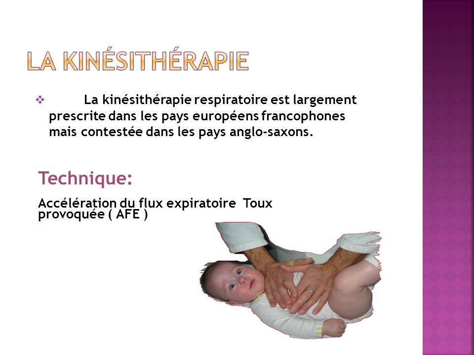 La kinésithérapie respiratoire est largement prescrite dans les pays européens francophones mais contestée dans les pays anglo-saxons. Technique: Accé