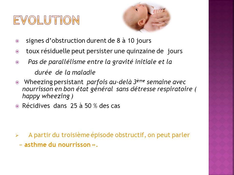 signes dobstruction durent de 8 à 10 jours toux résiduelle peut persister une quinzaine de jours Pas de parallélisme entre la gravité initiale et la d