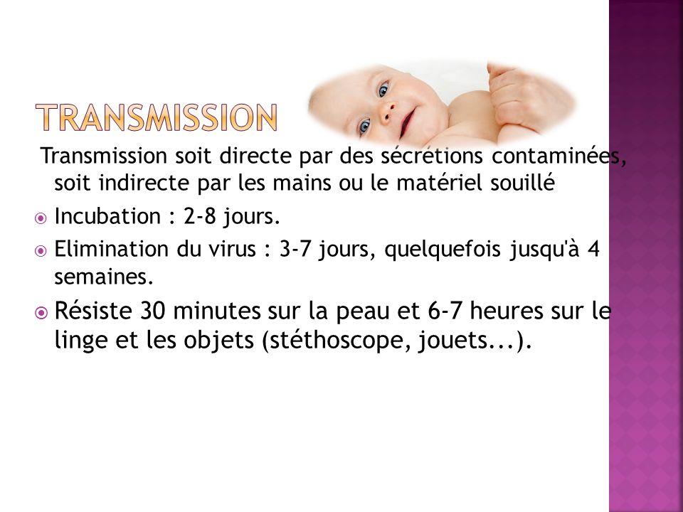Transmission soit directe par des sécrétions contaminées, soit indirecte par les mains ou le matériel souillé Incubation : 2-8 jours. Elimination du v