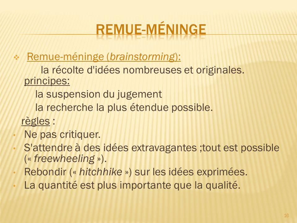 Remue-méninge (brainstorming): la récolte d'idées nombreuses et originales. principes: la suspension du jugement la recherche la plus étendue possible